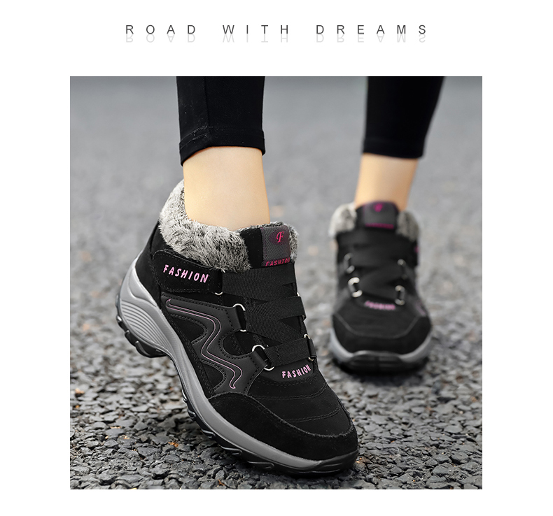 Brand Winter Women Snow Boots Shoes Waterproof Suede Women Warm Plush Krasovki Ankle Boots Female Shoes Wedge Snow Sexy Boots 96