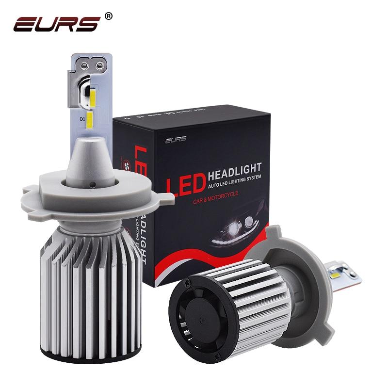 EURS C319 авто светодиодный головной светильник лампы H4 светодиодный H7 H11 60 Вт 8000LM CSP H8 H9 9005 HB3 и противотуманных фар с возможностью креативного с...