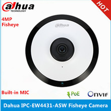 Dahua Cámara de ojo de pez IPC EW4431 ASW Panorama con micrófono incorporado de 180 grados, ranura para tarjeta SD, Audio e interfaz de alarma, POE, WIFI, 4MP