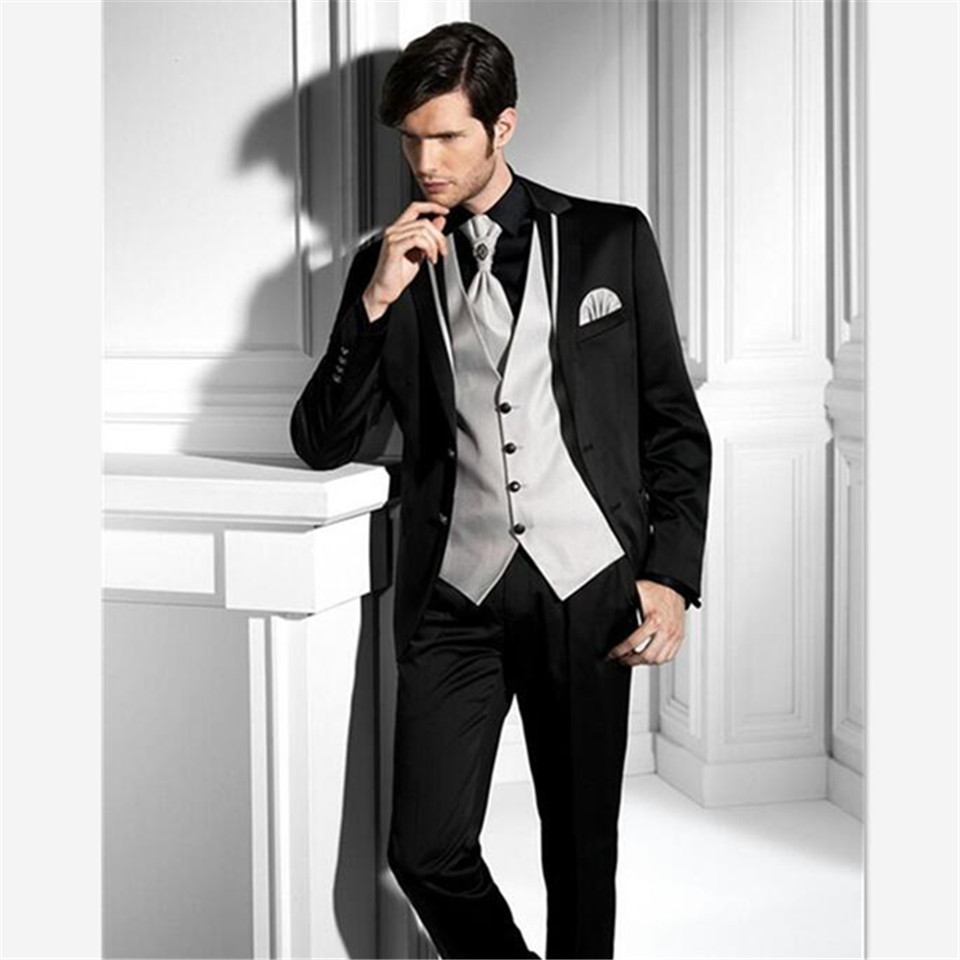 New Classic Men's Suit Smolking Noivo Terno Slim Fit Easculino Evening Suits For Men Black Groom Tuxedos Groomsman Wedding Prom