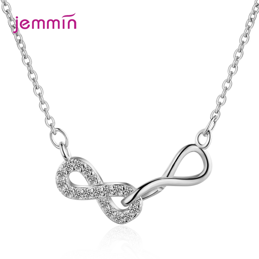 Ins Hot New Korean Style Fashion Dangle Double 8 Cross Micro In-lay Statement Pendant 925 Sterling Silver Jewelry Charm Necklace
