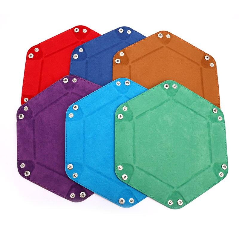 Bandeja para dados plegable de cuero PU, 1 unidad, 24cm, moneda hexagonal plegable, bandeja cuadrada, juego de dados, 6 colores