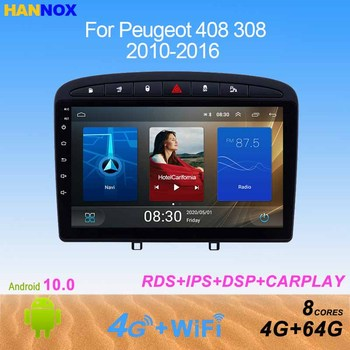 HANNOX 10 IPS Android10.0 Car radio for Peugeot 308 408 2010-2016 Multimedia Player DVD GPS audio navigation 8 Cores stereo DSP image