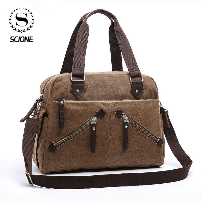 Scione Large Size Multifunctional Casual Canvas Bag Business Briefcase Men's Tote Bag Messenger Bag Male Handbags Travel Bag