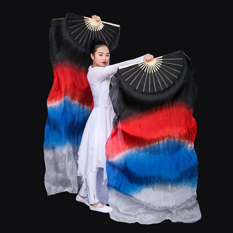 Image 3 - New Arrivals Women Belly Dance Fan Veil Hand Made White Navy Blue Gradient Silk Veil Pairs 180x90cm Girls Women Stage Show PropsBelly Dancing   -