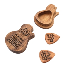Guitar Pick Box Wooden Guitar Pick Storage Case for Bass Pack Jazz Guitar Accessories цена