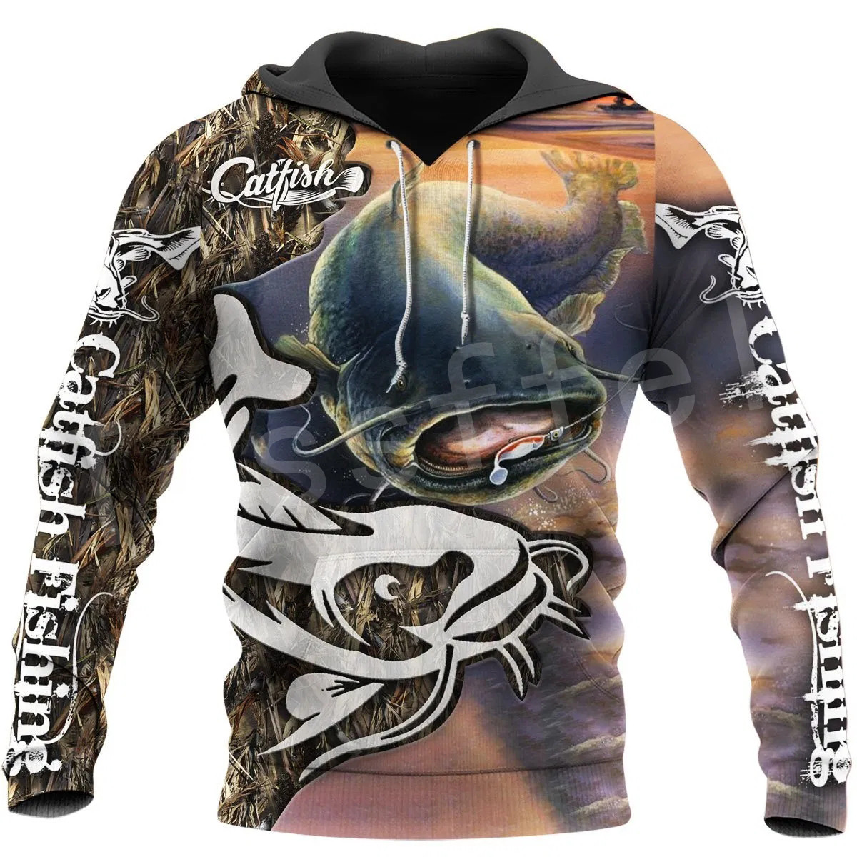 Tessffel New Fashion Animal Camo Bass Fishing Fisher Tracksuit Harajuku Unisex 3D Printed Zipper/Hoodies/Sweatshirts/Jacket s-6