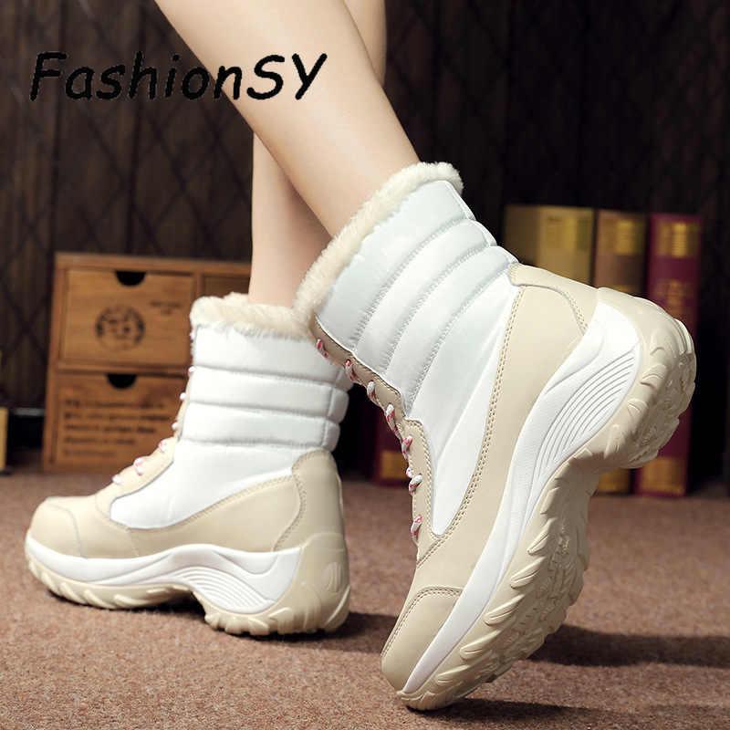 2019 г., зимние ботинки женская зимняя короткая плюшевая обувь повседневная обувь на платформе без шнуровки Водонепроницаемые кожаные ботинки на танкетке