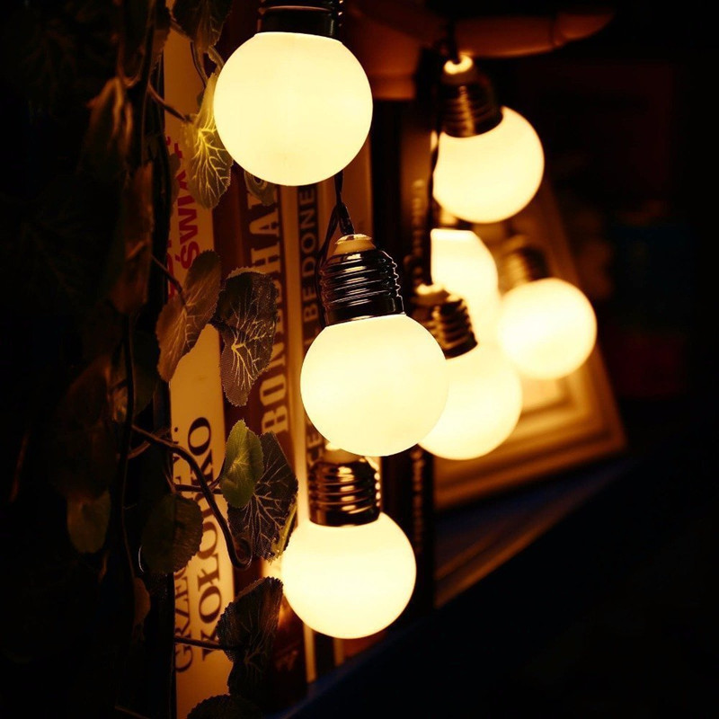 5M LED Solar Powered Bulb String Lights Garden Fairy Light Twinkle Garland Outdoor Waterproof Lamp Christmas Party Holiday Decor