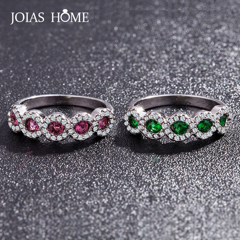 JoiasHome Silver 925 Ruby Ring For Women With Roud Emerald Ruby Gemstone Female Anniversary Gift Size 5-11