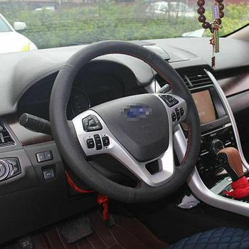 Hand Sewing Black Leather Steering Wheel Stitch on Wrap Cover For Ford Edge