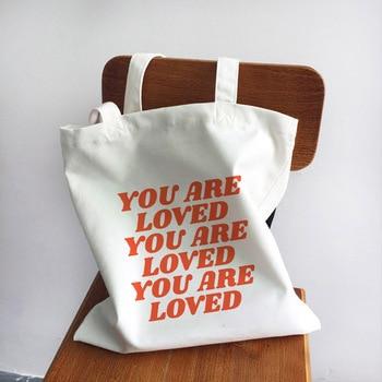 Ladies Handbags Girl Power Quotes Canvas Tote Bag Shopping Travel Women Eco Reusable Shoulder Shopper Bags High Capacity 2