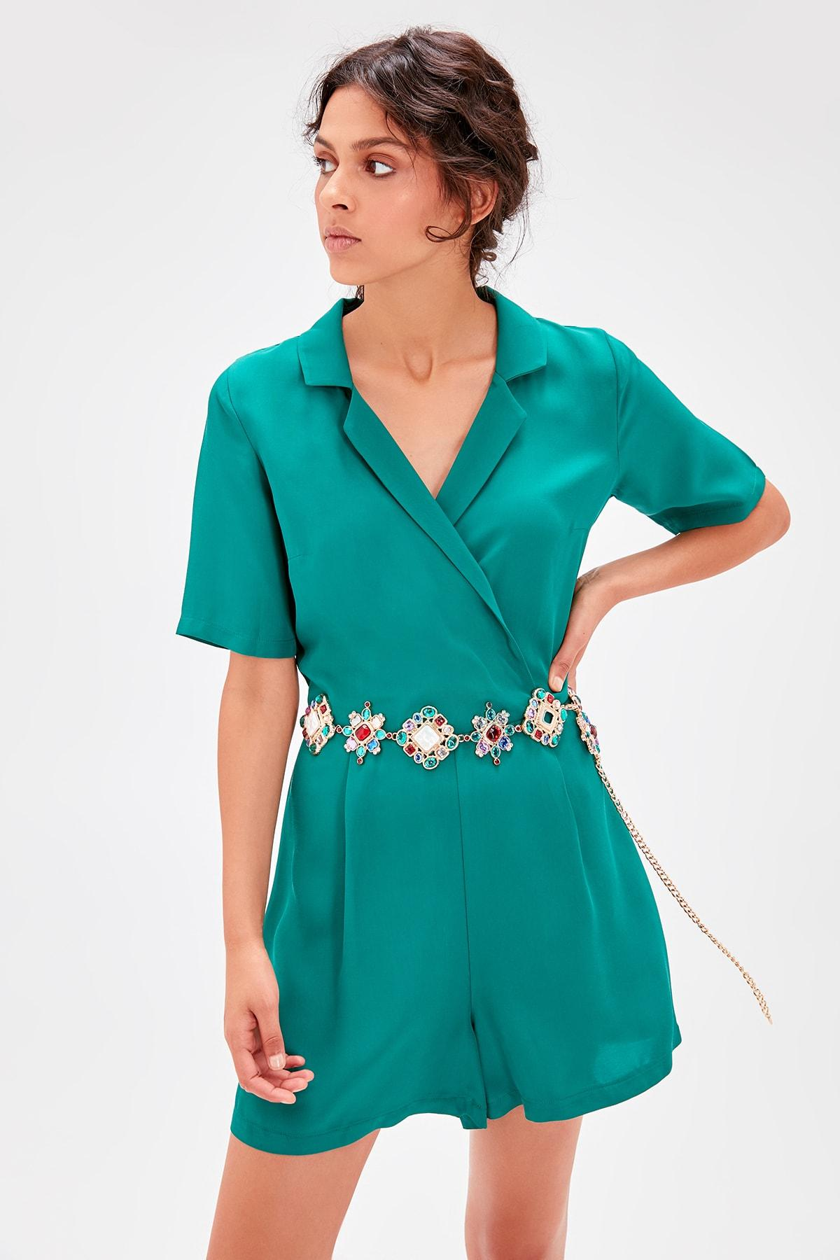 Trendyol Emerald Green Double Breasted Collar Jumpsuit TWOAW20TU0068