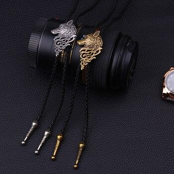 Personality Tie Golden Wolf Head Pendant Bowtie Necklace Cowhide Chain Men Bolo Tie Steampunk Accessories Sweater Chain Necktie недорого