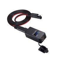 Adaptador sae dupla usb medidor de tensão medidor de desconexão rápida plug à prova dwaterproof água Voltímetros     -