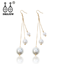 DREJEW Big Small Gold Silver Pearl Statement Earrings Long Tassel Chain Drop for Women Fashion Christmas Jewelry HE448