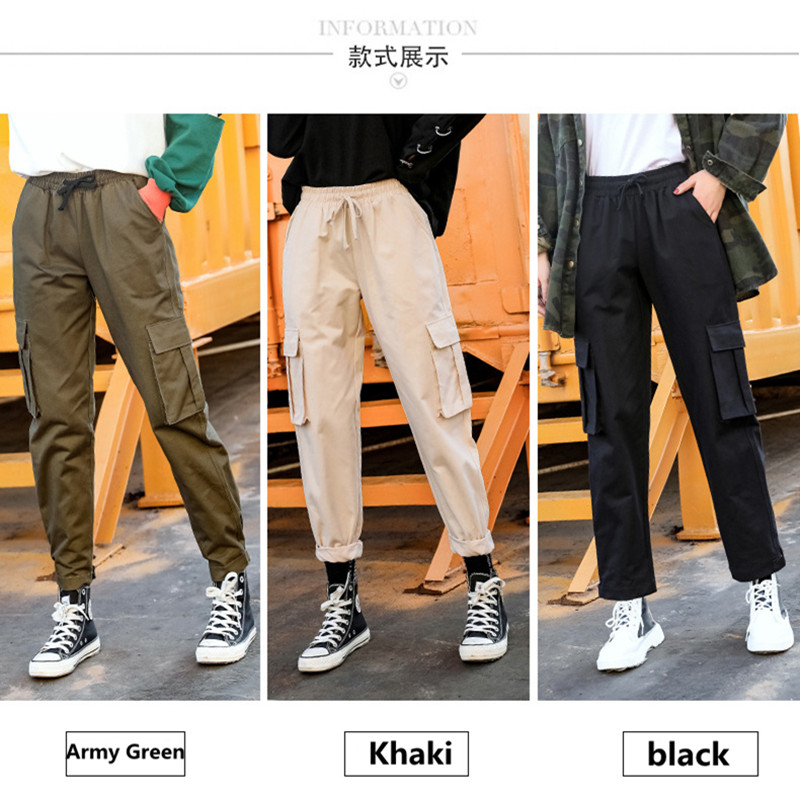 2019 spring and autumn new women's straight jumpsuit casual harem pants Harajuku style Korean version of the elastic waist wide 39
