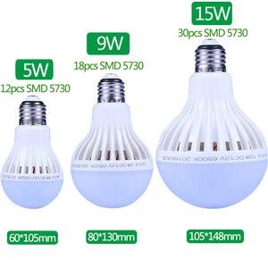 Image 5 - LED מנורת DC 12 V E27 Led הנורה 5W 7W 9W Lampada 12 וולט חיצוני אור הלילה דיג תליית מחנה אור חירום קר לבן