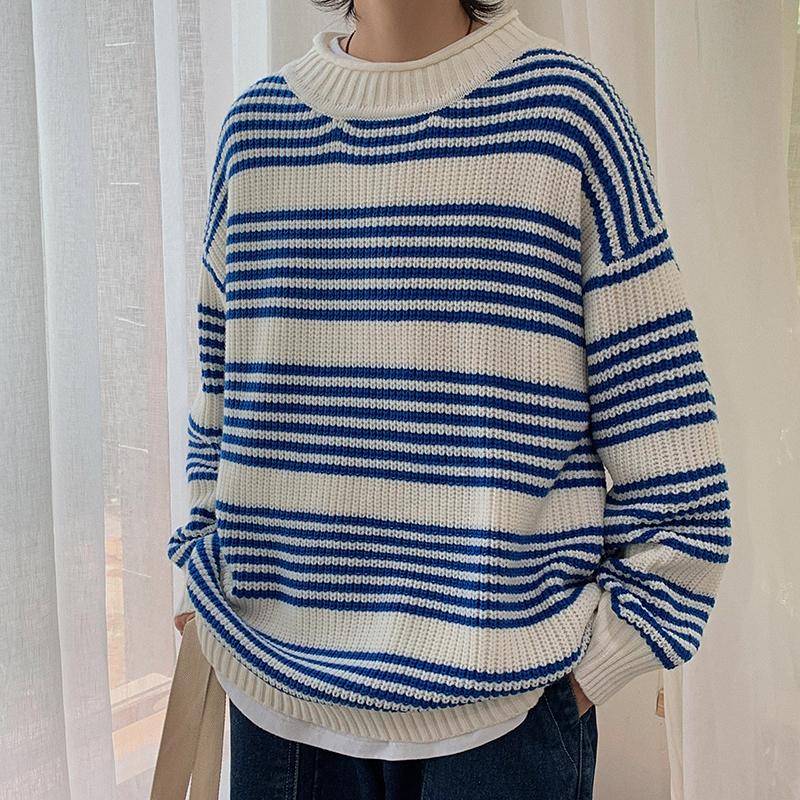 Winter New Thick Sweater Men Warm Fashion Contrast Color Striped Casual Knit Pullover Man Streetwear Loose Long-sleeved Sweater