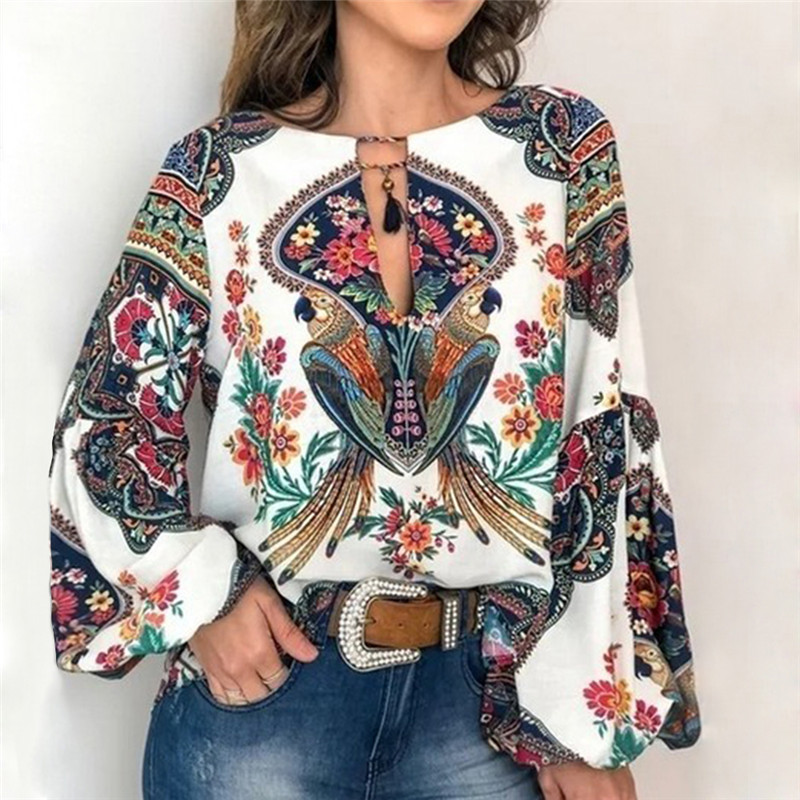 2019 Boho Blouse Floral Print Lantern Sleeve Shirt Sexy Lace-up Tassel O-Neck Women Tops Spring Autumn Chic Loose Blouses 3XL