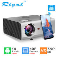 Rigal RD825 Mini Projector Native 1280 x 720P LED WiFi 3D Projector Android 6.0 Beamer Support HD 1080P Portable TV Home Theater