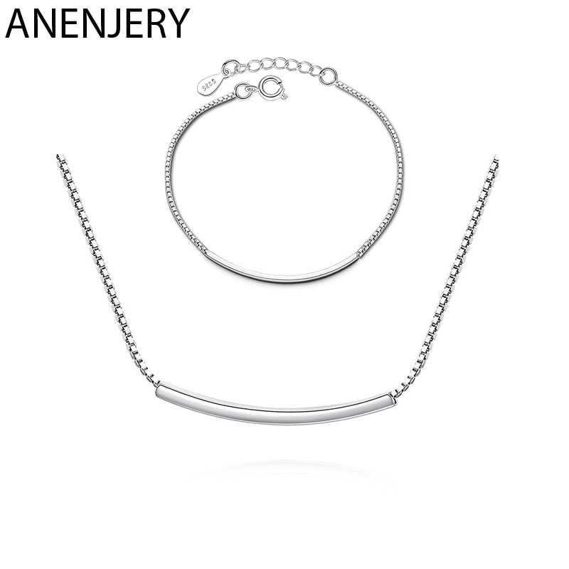 ANENJERY Dainty 925 Sterling Silver Curved Tube Necklace+Bracelet Jewelry Sets For Women Sister Jewelry