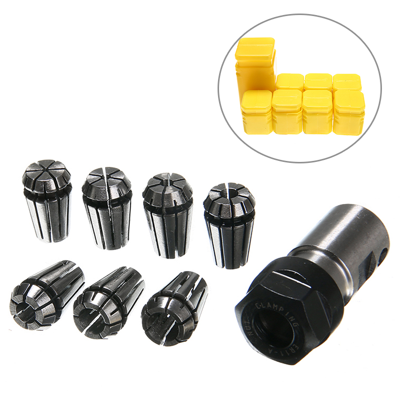 7pcs High Carbon <font><b>Steel</b></font> ER11 Spring Collet 1/2/3/4/5/6/<font><b>7mm</b></font> with 5mm ER11A Extension <font><b>Rod</b></font> Motor Shaft Holder image