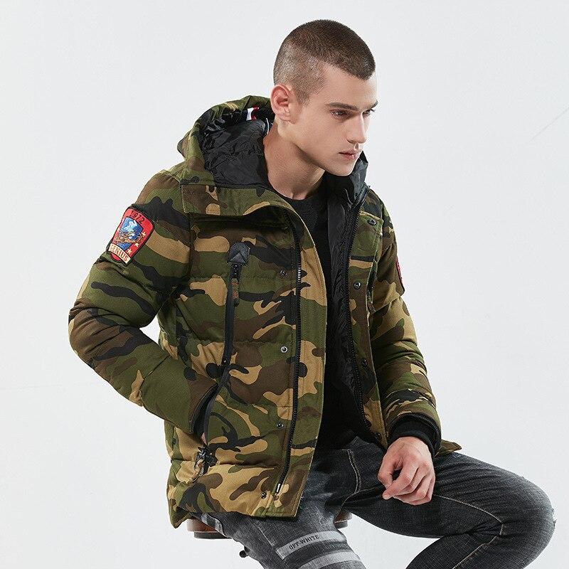 Зимнее Мужское пальто, хлопковое Стеганое пальто, повседневная куртка, свободная парка, верхняя одежда, утепленный Камуфляжный хлопковый к...