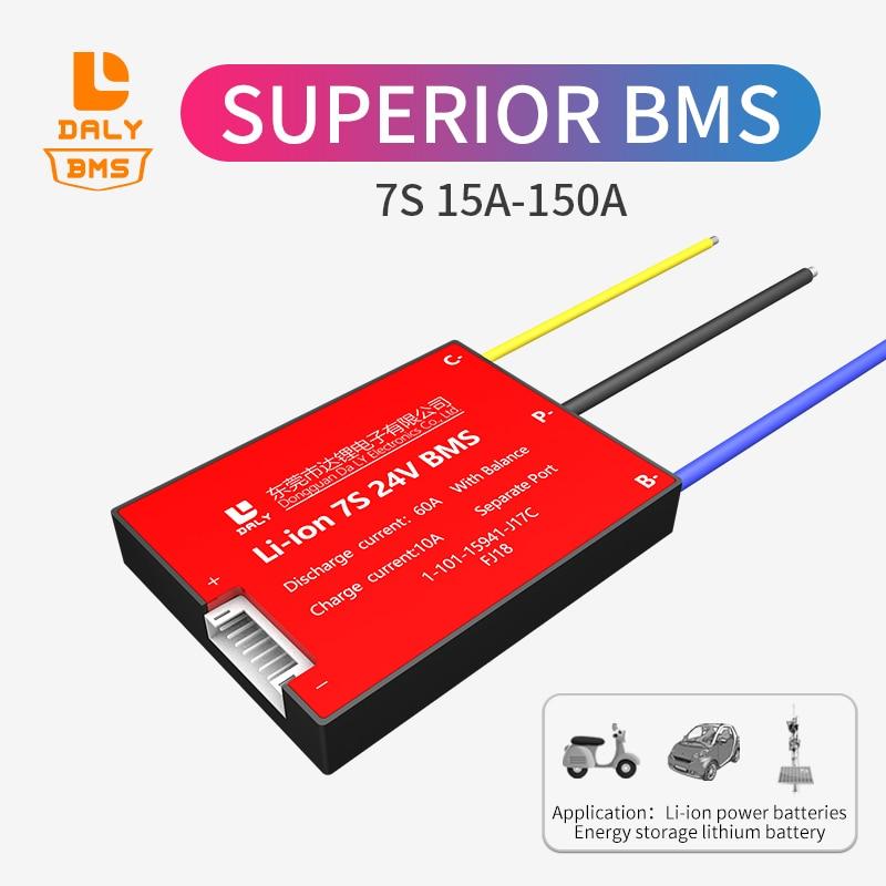 Daly Paquete de batería de litio BMS 18650, iones de litio 7S bms 24V 15A ~ 150A, Puerto separado con balance para batería solar bms Accesorios para baterías  - AliExpress