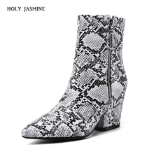 2019 New Autumn Serpentine Female Boots High Heels Pointed Boots Color Beautiful Square heel Shoes Boots ankle boots for women msfair women boots 2018 hot selling crystal ankle boots women shoes pointed toe high heel boot shoes square heel boots for girl