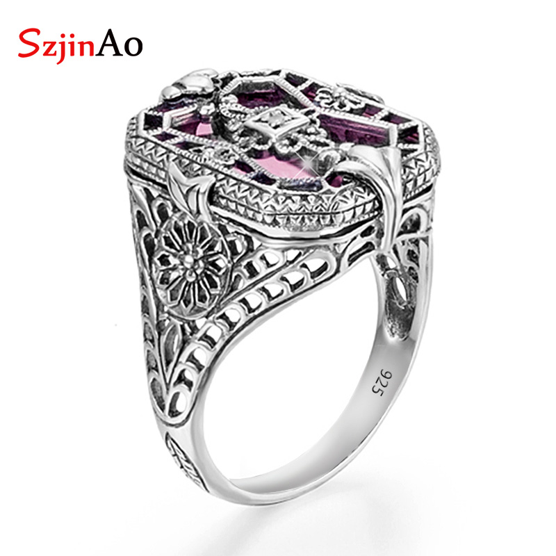 SzjinAo Real 925 Sterling Silver Rings For Women Pink Crystal Ring Gemstones Handmade Fine Jewlery Birthstone Wedding Party Hot