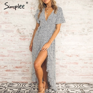 Image 5 - SimpleeLeopard プリントパーティードレスセクシーな V ネック半袖ドットプラスサイズドレス女性エレガントスプリットレースフリルベルトロングドレス