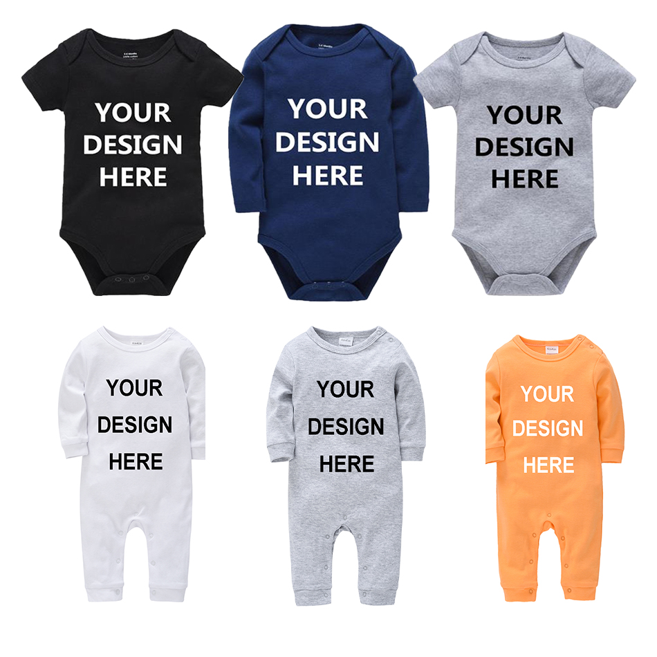 Personalized Rompers Customed Baby Bodysuit Solid Toddler Girls Jumpsuit Onesie Custom Letters Photos Printed Jumpsuits Footies