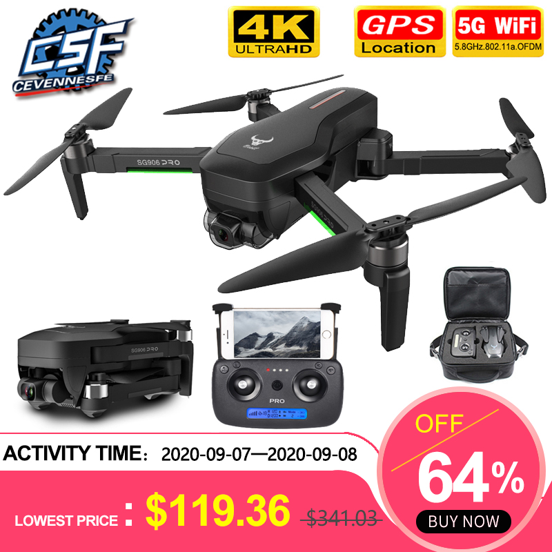 2020 NWE SG906 pro drone 4k HD mechanical gimbal camera 5G wifi gps system supports TF card drones distance 1.2km flight 25 min