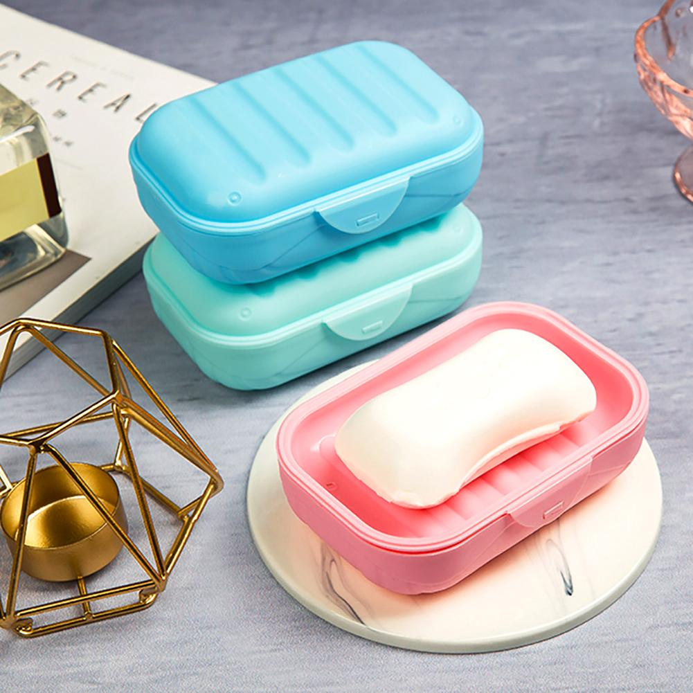 Travel Bathroom Shower Plastic Soap Dish Box Holder Case Storage Container With Lid Shower Soap Accessories Big Containers Box