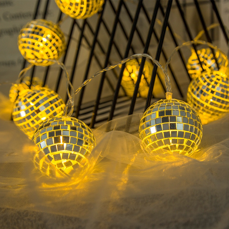 LED String Light Disco Mirror Ball Decorative Fairy Lights For Holiday Wall Window Tree Party Yard Kids