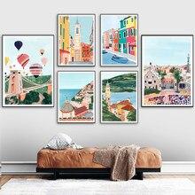 Nordic Travel plakaty Barcelona wenecja abstrakcyjny krajobraz obraz na płótnie Wall Art włochy francja zdjęcia z nadrukiem wystrój salonu