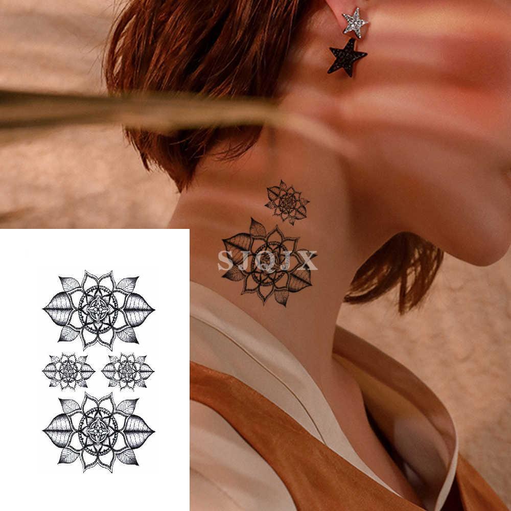 Kleine Waterdichte tijdelijke tattoo stickers Maple bloem vos spider Nek tattoo 1 stuk Body art sexy tattoo Verf Water Transfer