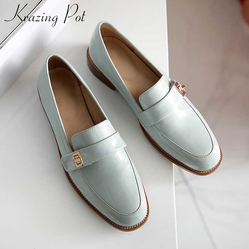 Krazing Pot Sweet Solid Metal Decorations Genuine Leather Shoes Round Toe Med Heels Slip On Loafers Women Daily Wear Pumps L01