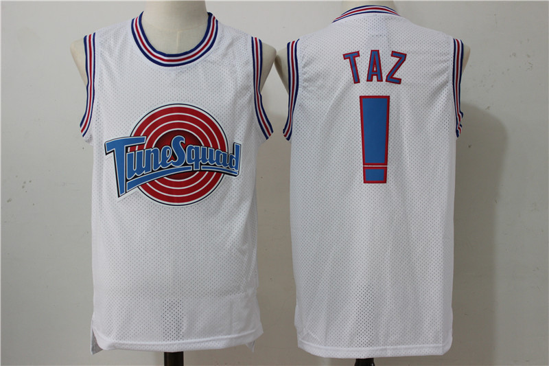 Classic Space Jam Film Version Nike Air Jordan Taz #! Embroidered Jersey Basketball Wear White
