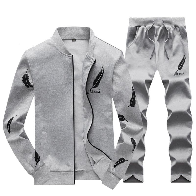Men Fashion Sets 2PC Autumn Two Pieces Casual Tracksuits Male Zipper Sweatshirt+Sweatpants Suits Men Plus Size 2PC Sportswears 3