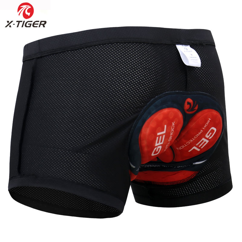 X-Tiger  Men' Cycling Shorts Pro 5D Padded Gel Shockproof  Black Bike Underpant Black Bicycle Cycling Underwear Cycling Shorts