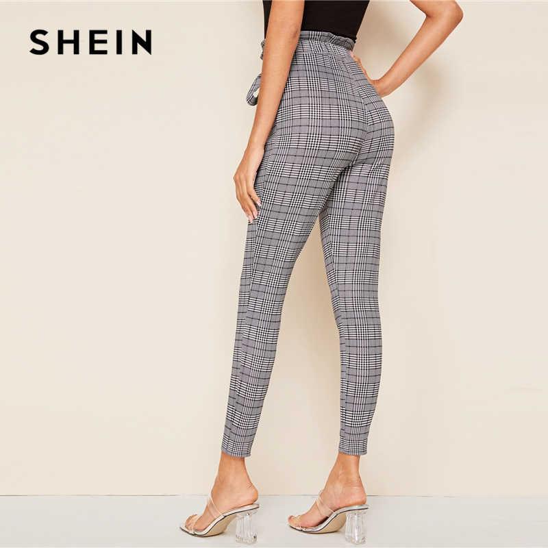 SHEIN สีเทาลายสก๊อตเอว Paperbag Self Belted Casual กางเกงผู้หญิงกางเกง 2019 ฤดูใบไม้ร่วงสูงเอวสุภาพสตรีผอมกางเกง