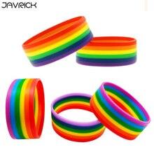 5Pcs Rainbow Gay & Lesbian Pride Lovers Silicone Bracelet Kit Wristband Jewelry