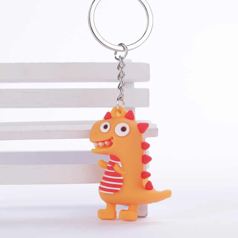 Llavero pequeño dinosaurio de dibujos animados de moda llavero de PVC para mujer bolso encanto llavero colgante regalos de joyería