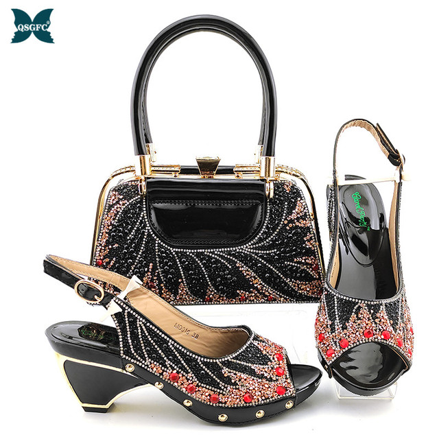2020 New Arrival Matching Shoes and Bag Set In Heels African Shoes and Matching Bags Set in Black Color for Party
