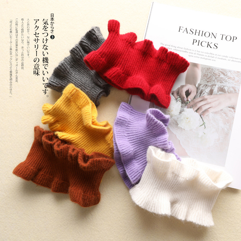 Korean-style Cute Wool Cashmere Scarf Women's Autumn And Winter Students White Black Fungus Edge Scarf Pullover Men's