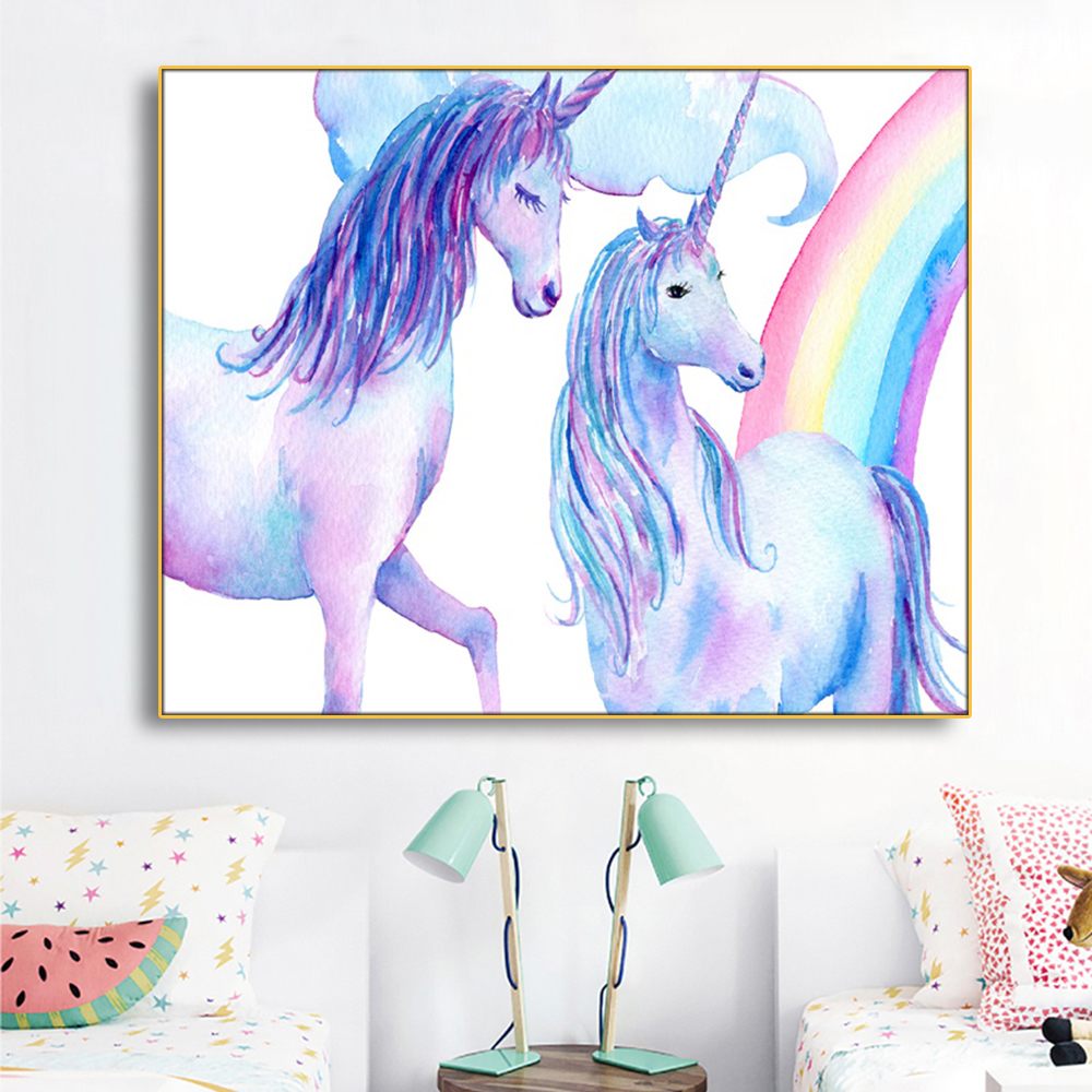 Unicorns and Rainbow Decoration Canvas Painting Calligraphy Pictures For Living Room Bedroom Artwork Modern Home Wall No Frame in Painting Calligraphy from Home Garden