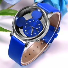 Crystals Clocks Quartz Leather cute Mouse Watch SF
