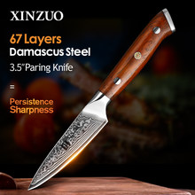 XINZUO-cuchillo de cocina de pelar de 3,5 pulgadas, hecho a mano, mango de palisandro de acero damasco, tallado japonés, herramientas de cocina